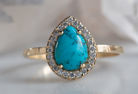 Sleeping Beauty Turquoise + Diamond Engagement Ring