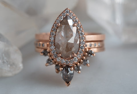 Natural Dusty Rose Diamond Ring with Pavé Halo