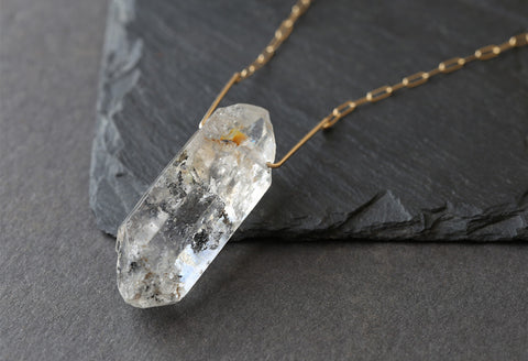 Long Double Terminated Quartz Crystal Necklace