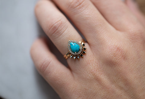 The Dahlia Ring with a Sleeping Beauty Turquoise