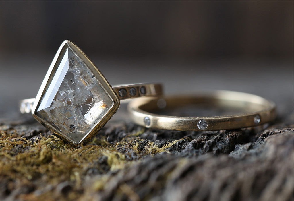 Natural Silver-Clear Geometric Diamond Ring with Pave Diamond Band