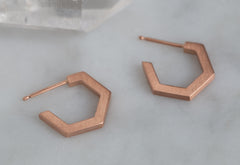 Gold Hex Huggie Hoops