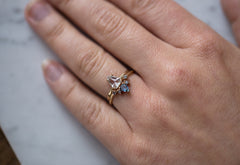 Custom Diamond Sunburst Stacking Ring