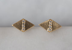 Geometric Pavé Diamond Studs
