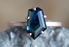 One of a Kind Shield Cut Australian Sapphire Engagement Ring