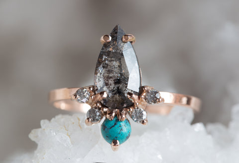 Natural Rose Cut Black Diamond + Turquoise Sunburst Ring