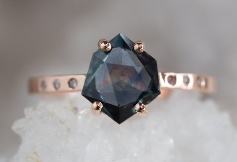 One of a Kind Geometric Montana Sapphire Engagement Ring