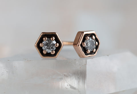 Galaxy Diamond Hexagon Stud Earrings