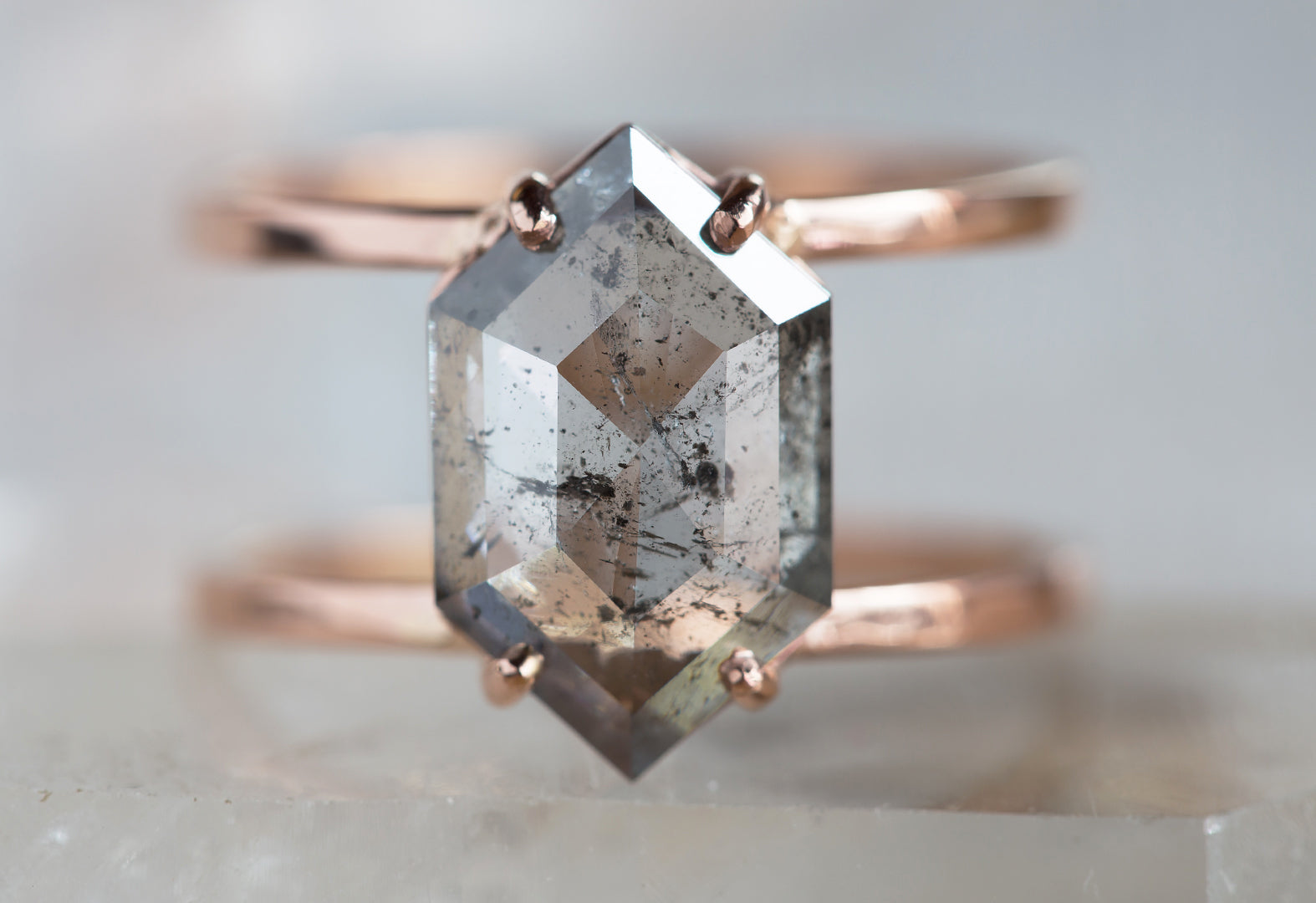 One of a Kind Salt and Pepper Hexagon Diamond Engagement Ring-Double Band