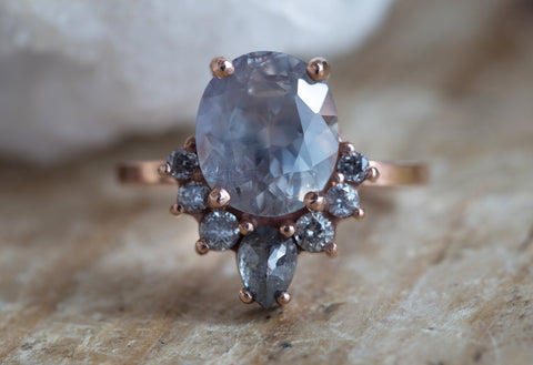 One of a Kind Natural Grey Sapphire + Diamond Cluster Ring