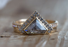 Geometric Salt and Pepper Rose Cut Diamond Engagement Ring