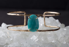 Rose Cut Turquoise Cage Cuff Bracelet