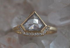 Natural One of a Kind Silver-Blue Geometric Diamond Ring with Half Halo