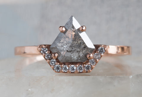 Geometric Rose Cut Salt and Pepper Diamond Ring with Half Pave Diamond Halo