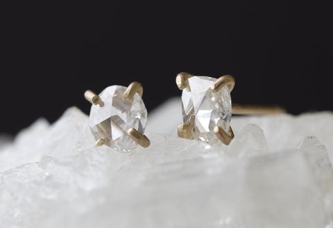 Natural Rose Cut White Diamond Earrings