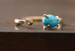 Turquoise + Diamond Open Cuff Ring