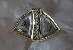 One of a Kind Rose Cut Diamond Moth Ring