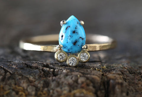Turquoise + Diamond Arc Ring