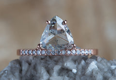 One of a Kind Clear Salt + Pepper Trillion Diamond Ring with Pave Band