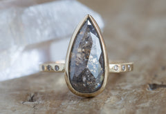 One of a Kind Grey Salt + Pepper Rose Cut Diamond Engagement Ring