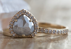 Grey Rose Cut Diamond Engagement Ring with Pave Diamond Halo