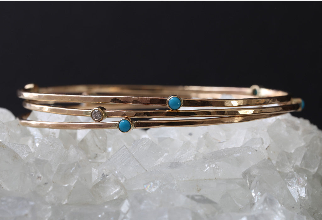 Turquoise + Diamond Bangle
