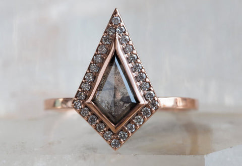 Geometric Black Diamond Engagement Ring with Pave Halo