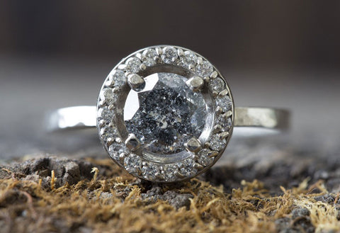 Natural Salt + Pepper Diamond Ring with Pavé Diamond Halo