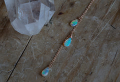 Natural Opal Cascade Lariat Necklace