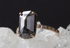 Natural Black Salt + Pepper Emerald Cut Diamond Ring