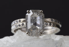 Natural Silver-Blue Emerald-Cut Diamond Ring