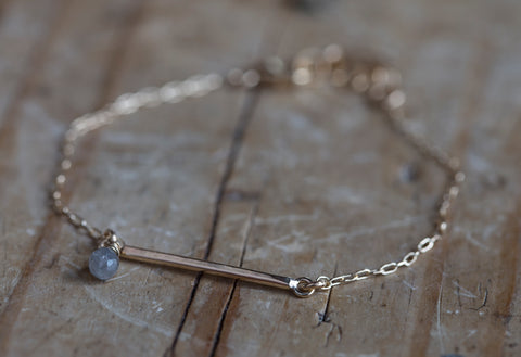 Diamond Briolette Bar Bracelet