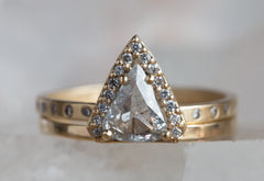 Natural Rose Cut Salt + Pepper Trillion Diamond Ring with Pave Halo