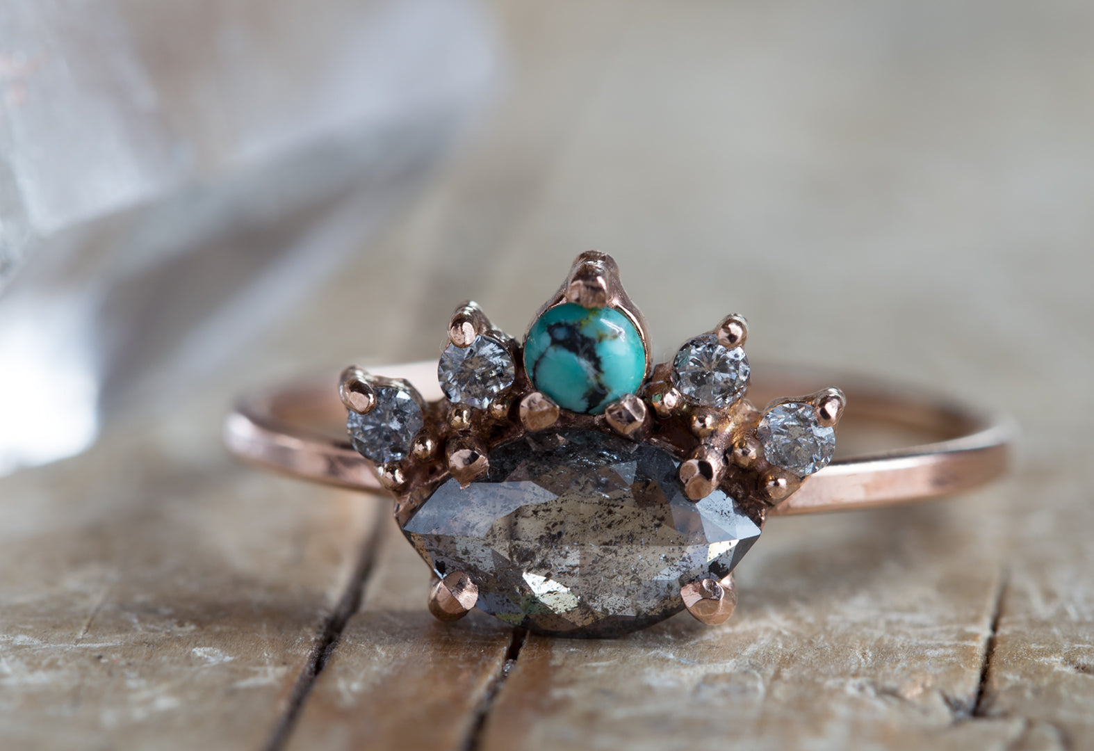 'All Seeing Eye' Ring with Black Diamond + Turquoise