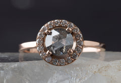 Natural Round Rose Cut Galaxy Diamond Ring with Pavé Halo