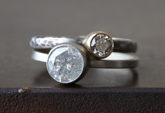 Natural Silver-Grey Brilliant Cut Diamond Ring