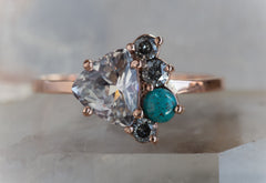 One of a Kind Color-Change Sapphire, Diamond + Turquoise Cluster Ring