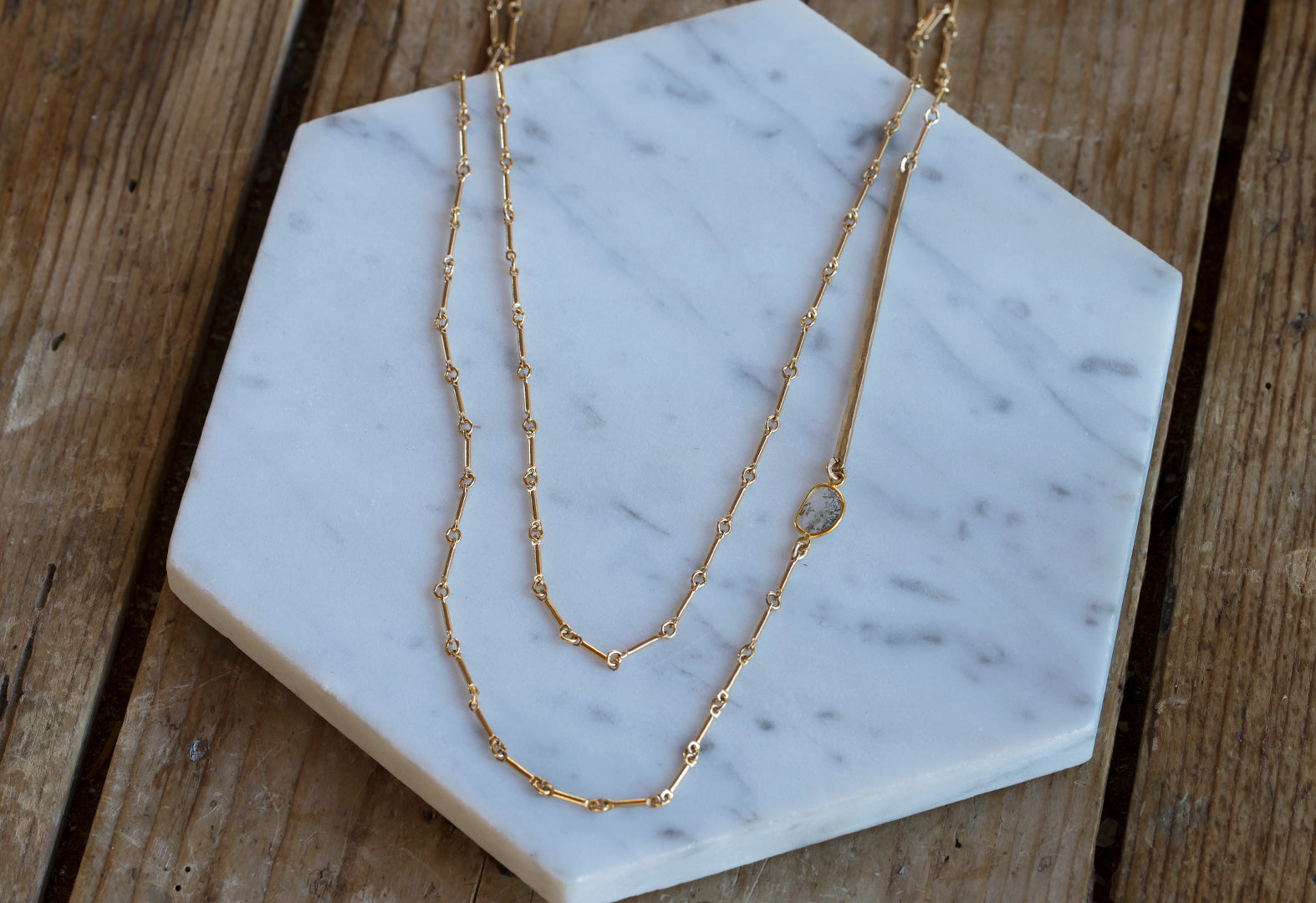 Long Diamond Slice Bar Chain Necklace
