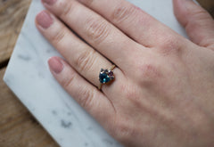 One of a Kind Montana Sapphire + Diamond Cluster Ring