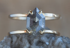 Natural Grey Geometric Rose Cut Diamond Engagement Ring Double Band