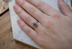 Rose Cut Salt + Pepper Diamond Engagement Ring with Pavé Band