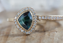 One of a Kind Montana Sapphire Engagement Ring with Pavé Halo
