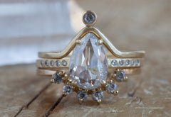 One of a Kind Silvery-White Salt + Pepper Rose-Cut Diamond Ring