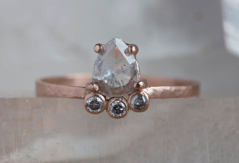 Natural Rose Cut Salt + Pepper Arc Diamond Ring