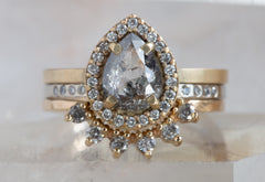 Natural Salt and Pepper Rose Cut Diamond Engagement Ring with Pavé Halo