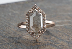 Natural Grey Rose Cut Hexagon Diamond Ring with Pavé Halo