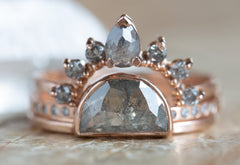 Sun, Moon + Stars Grey Rose Cut Diamond Ring Stack