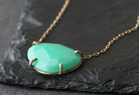 Natural Rose Cut Chrysoprase Necklace