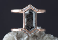 Natural Black + White Hexagon Diamond Engagement Ring- Double Band