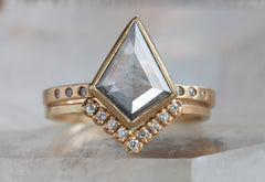 One of a Kind Natural Blue-Grey Geometric Diamond Engagement Ring